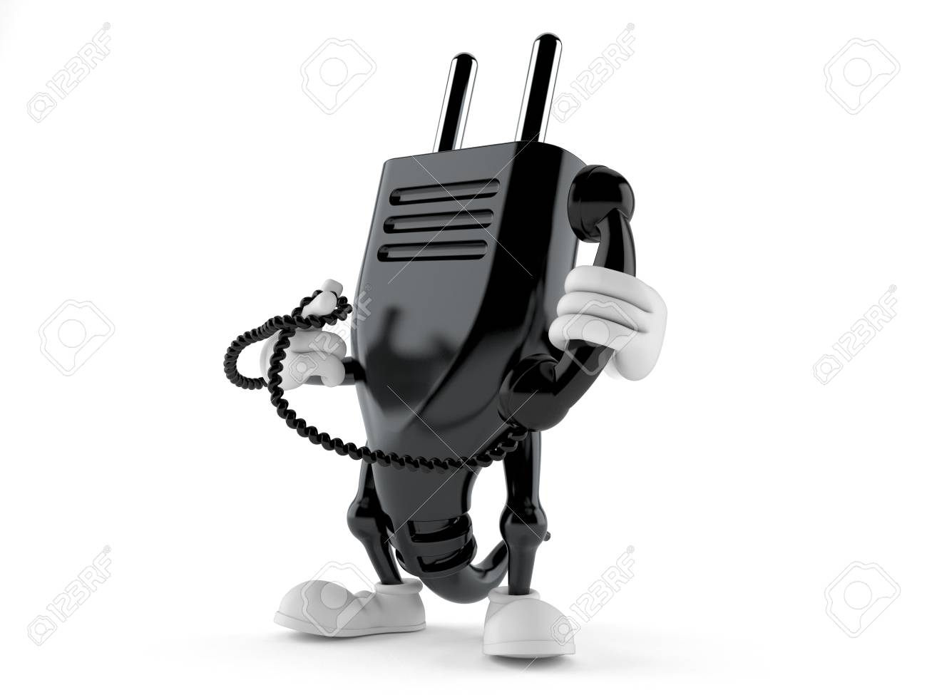 Electric Plug Character Holding A Telephone Handset Isolated.. Stock ...