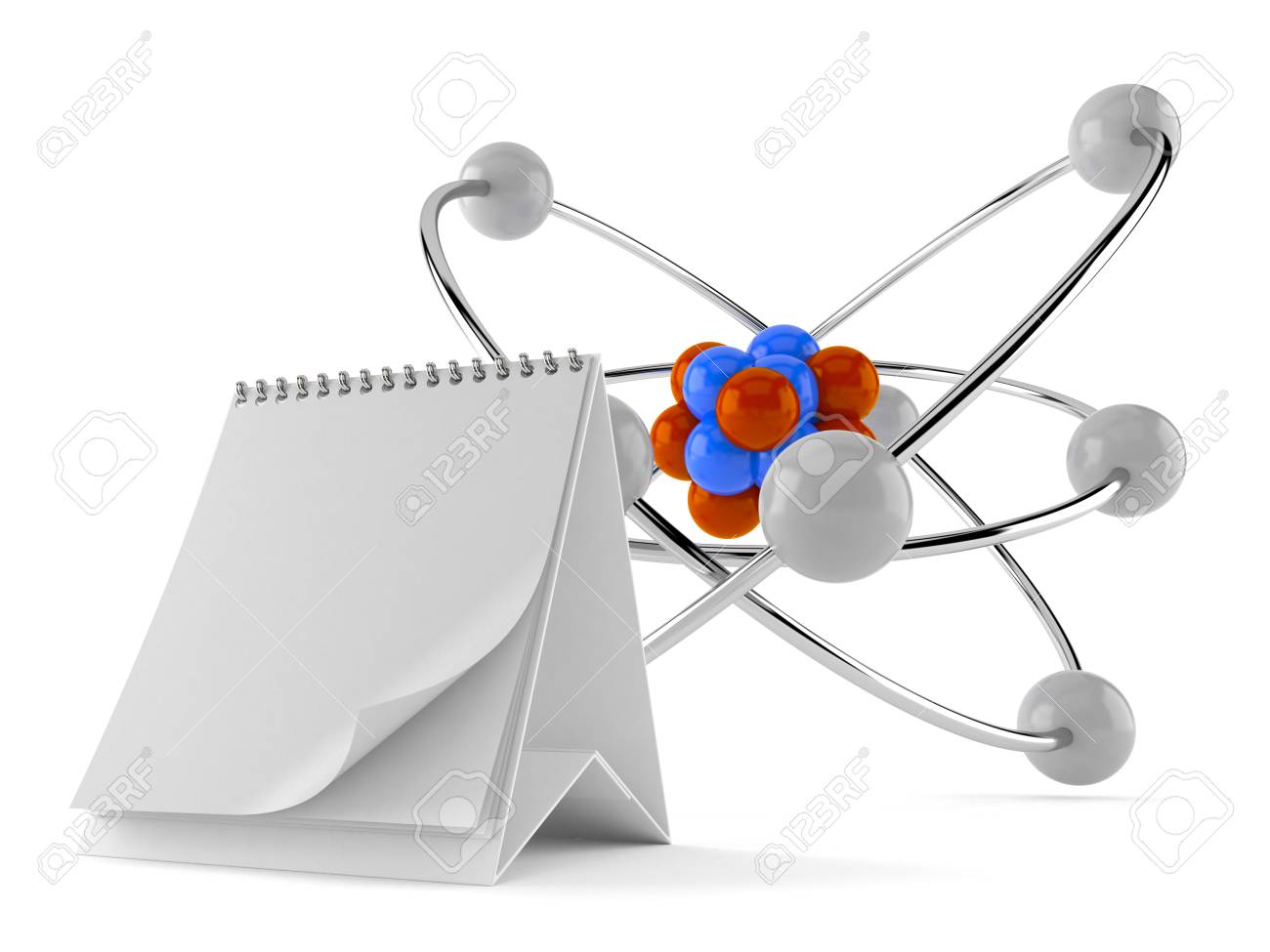 Atom Model With Blank Calendar Isolated On White Background. 3d  Illustration Stock Illustration   105638462