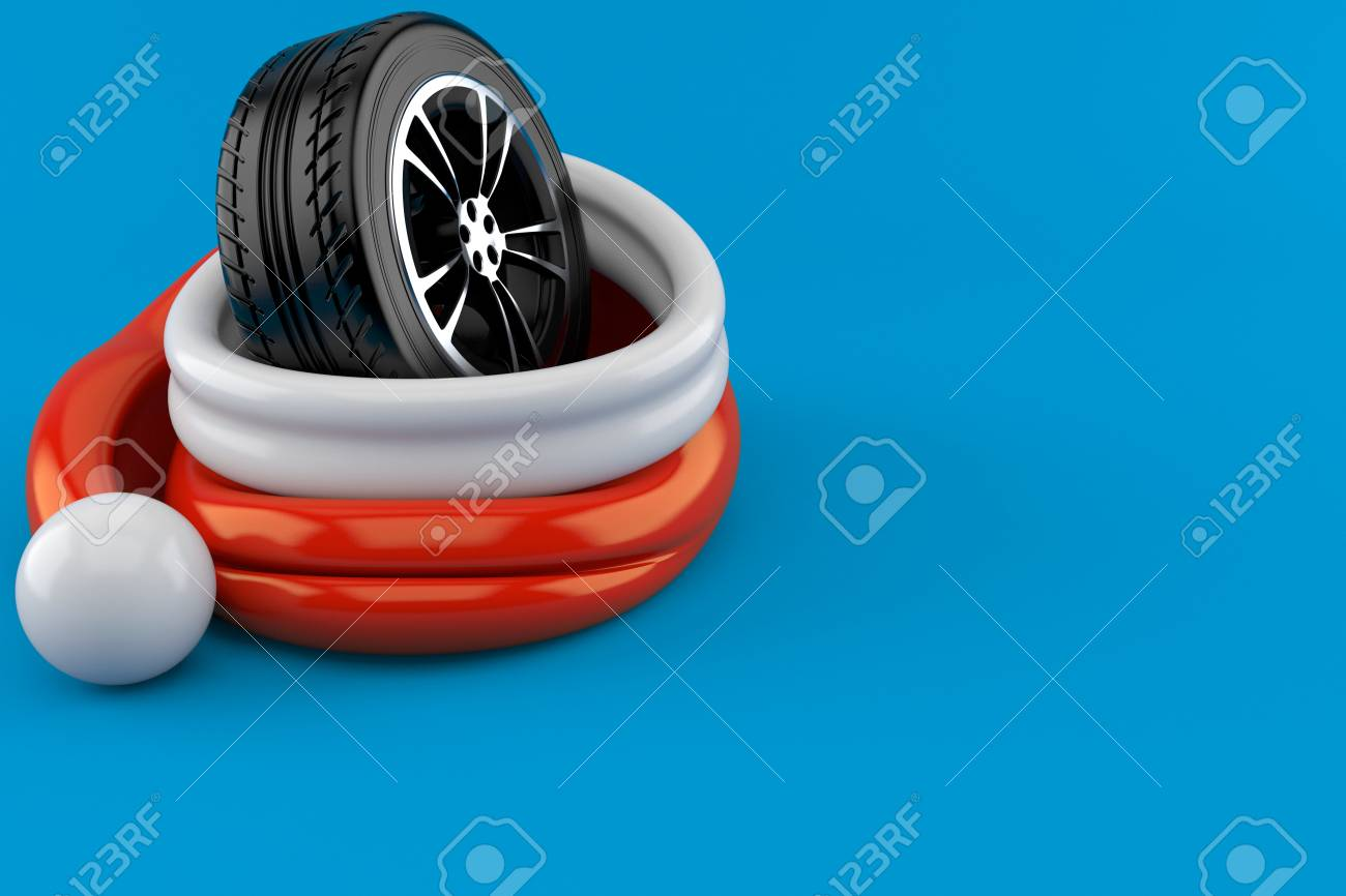 6b2b383d28f9a Car wheel inside santa hat isolated on blue background. 3d illustration  Stock Illustration - 108526507