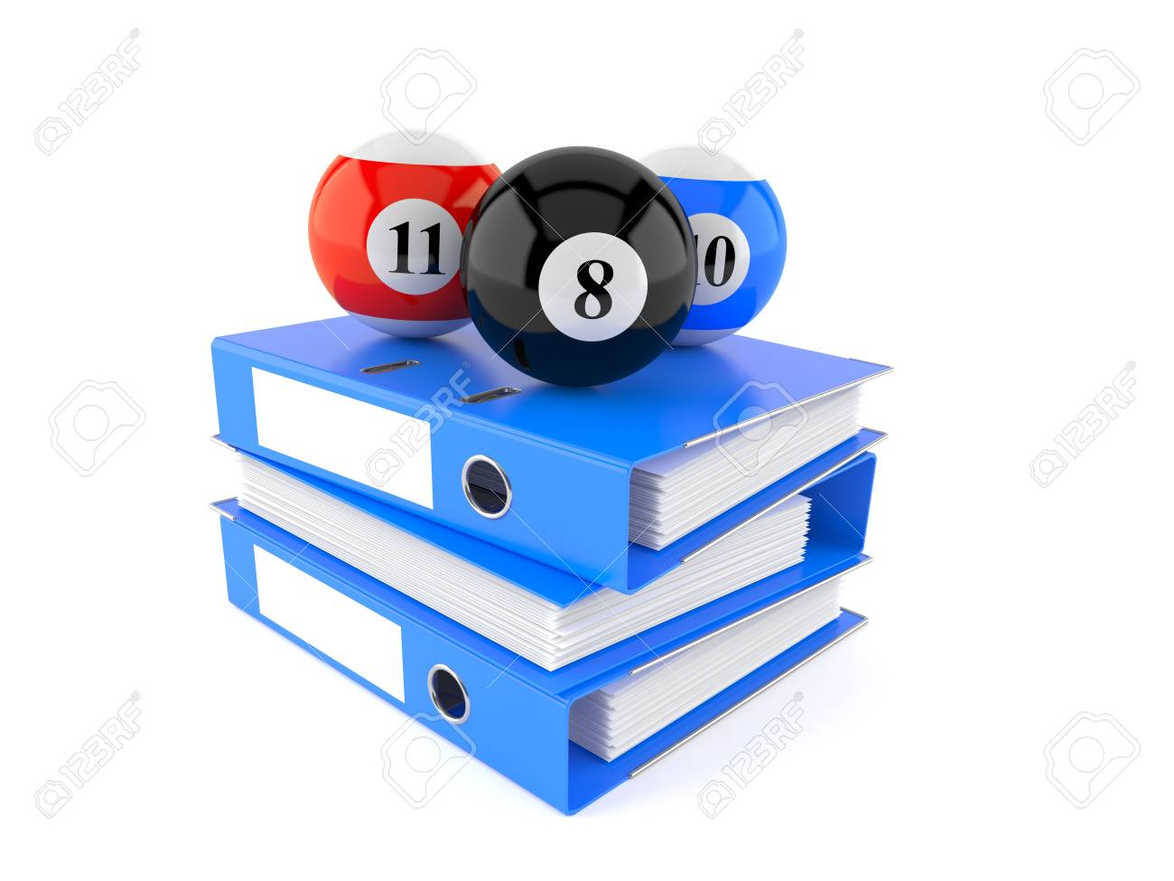 Illustration - Pool balls with ring binders isolated on white background.  3d illustration dba5c4996b5f