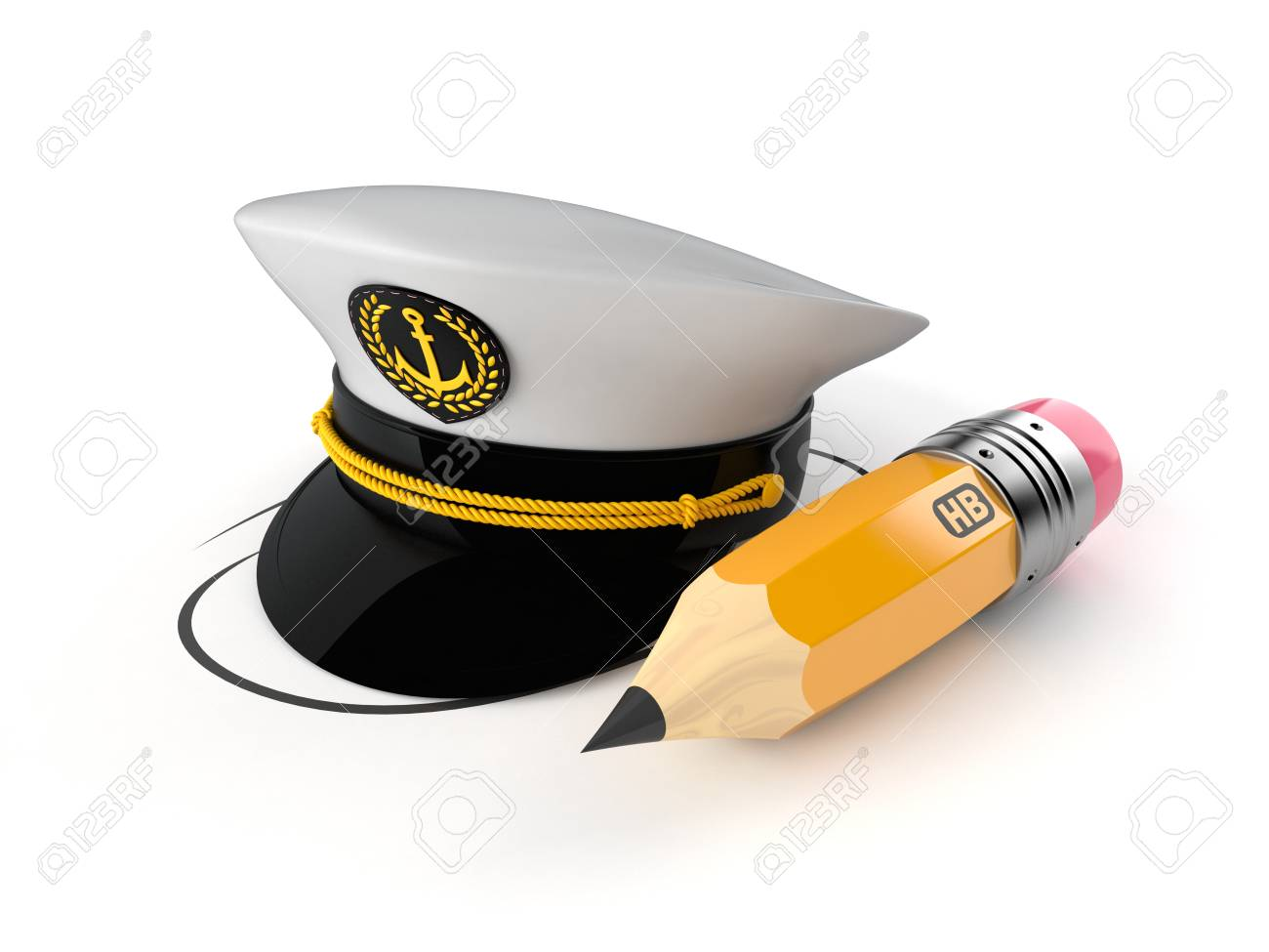 f279a1d8437 Captain s hat with pencil isolated on white background. 3d illustration  Stock Illustration - 110844550