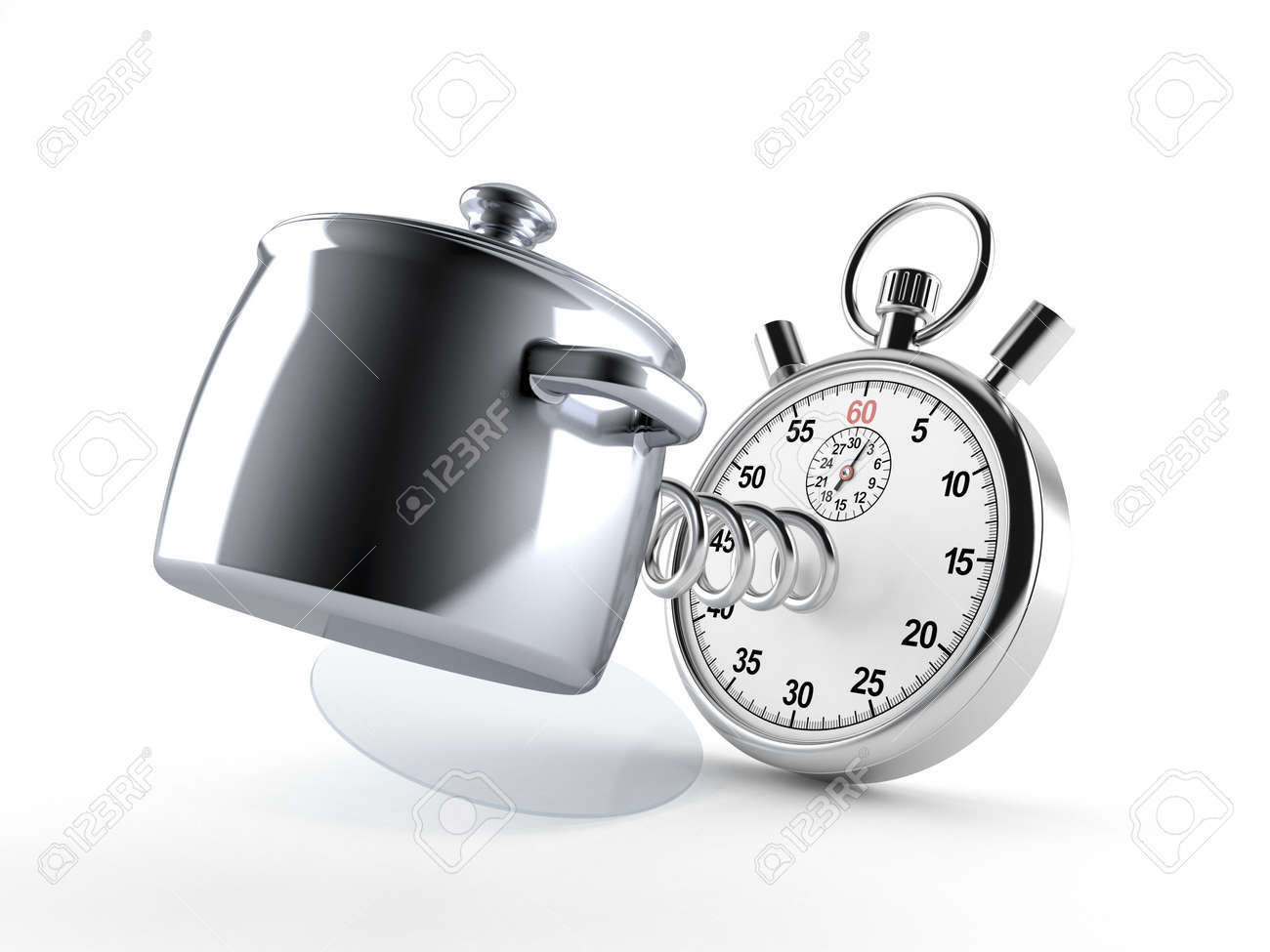Kitchen pot with stopwatch isolated on white background. 3d illustration - 138436999