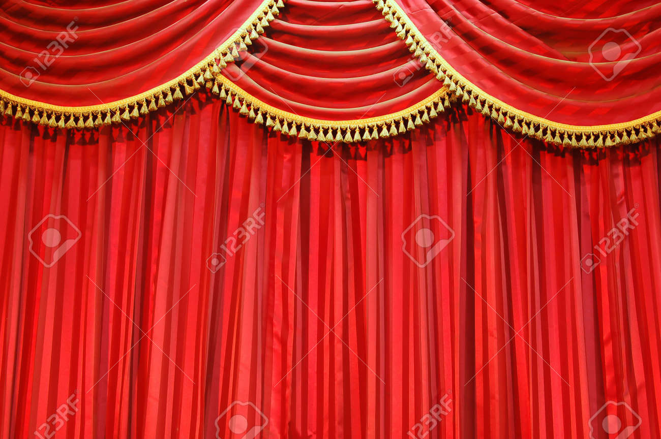 Closed theater curtains - Background Of Red Velvet Closed Theatre Curtains Stock Photo 597647