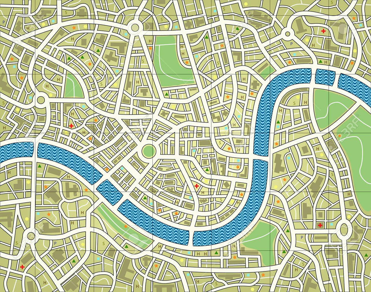 Editable vector illustration of a street map without names Stock Vector - 3088902