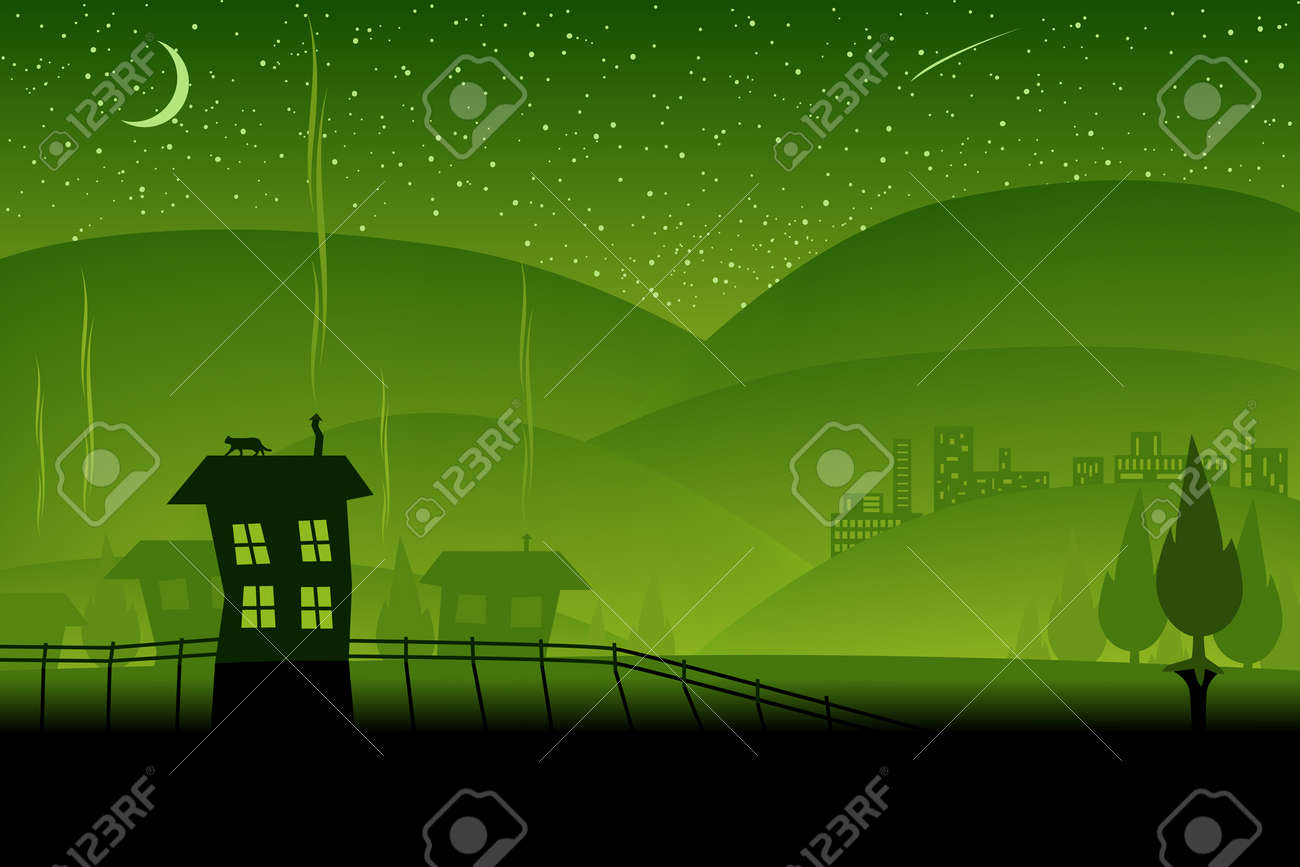 Editable vector illustration of a night-time landscape Stock Vector - 3183114