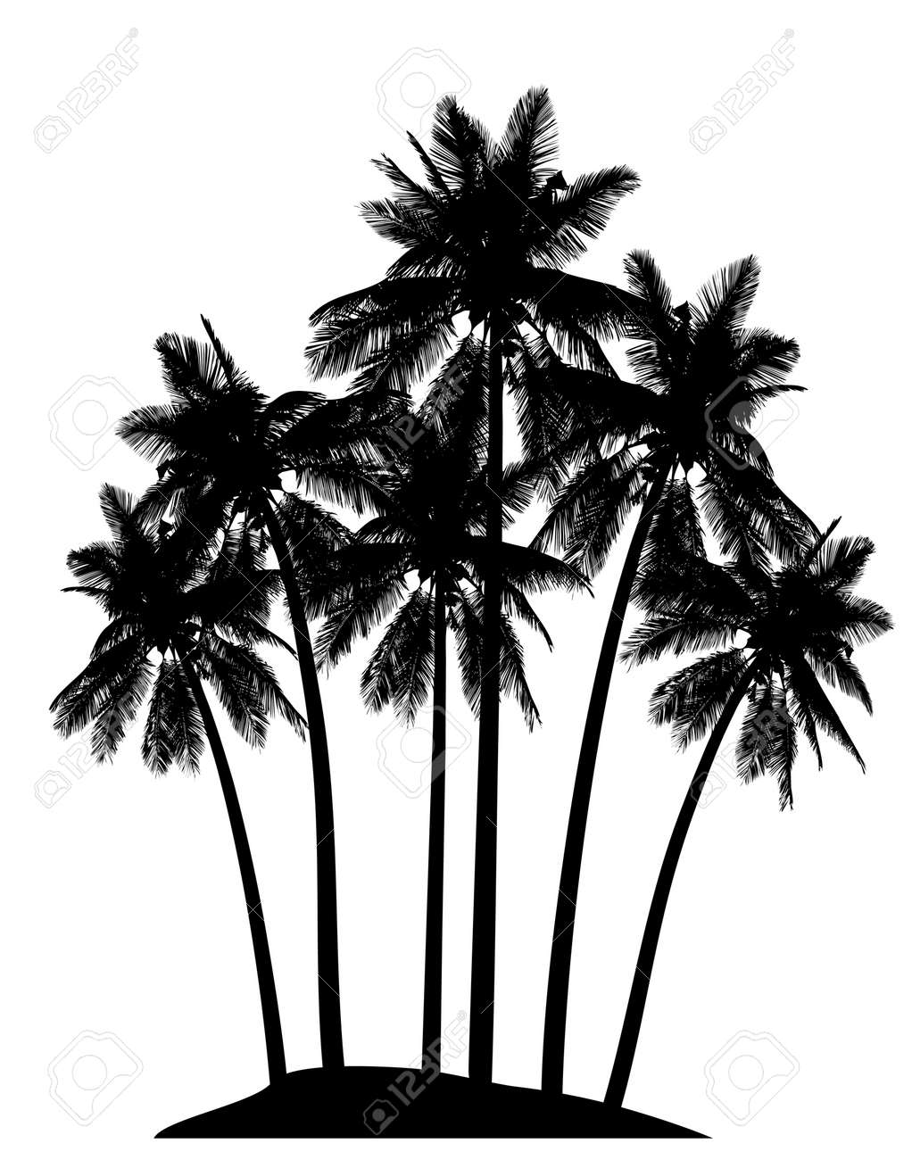 Editable Vector Illustration Of Palm Tree Silhouettes Royalty Free ...