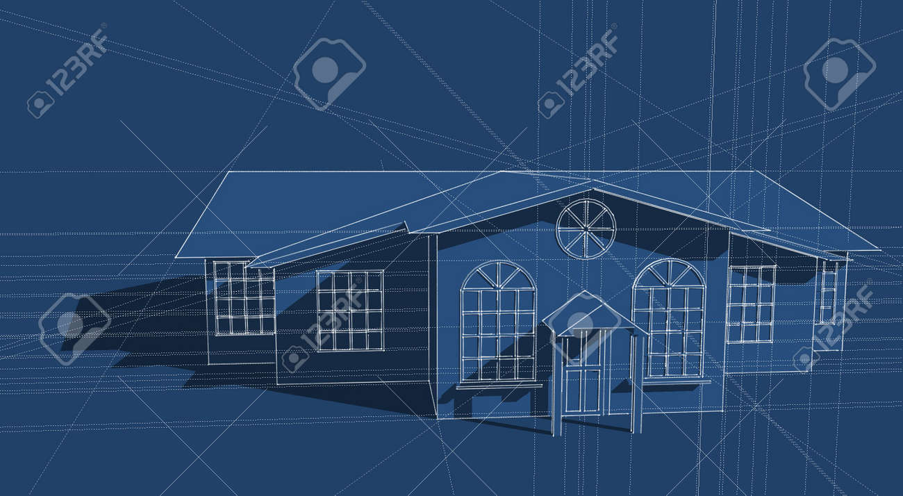 Illustration of a generic house design in blue Stock Photo - 3884879