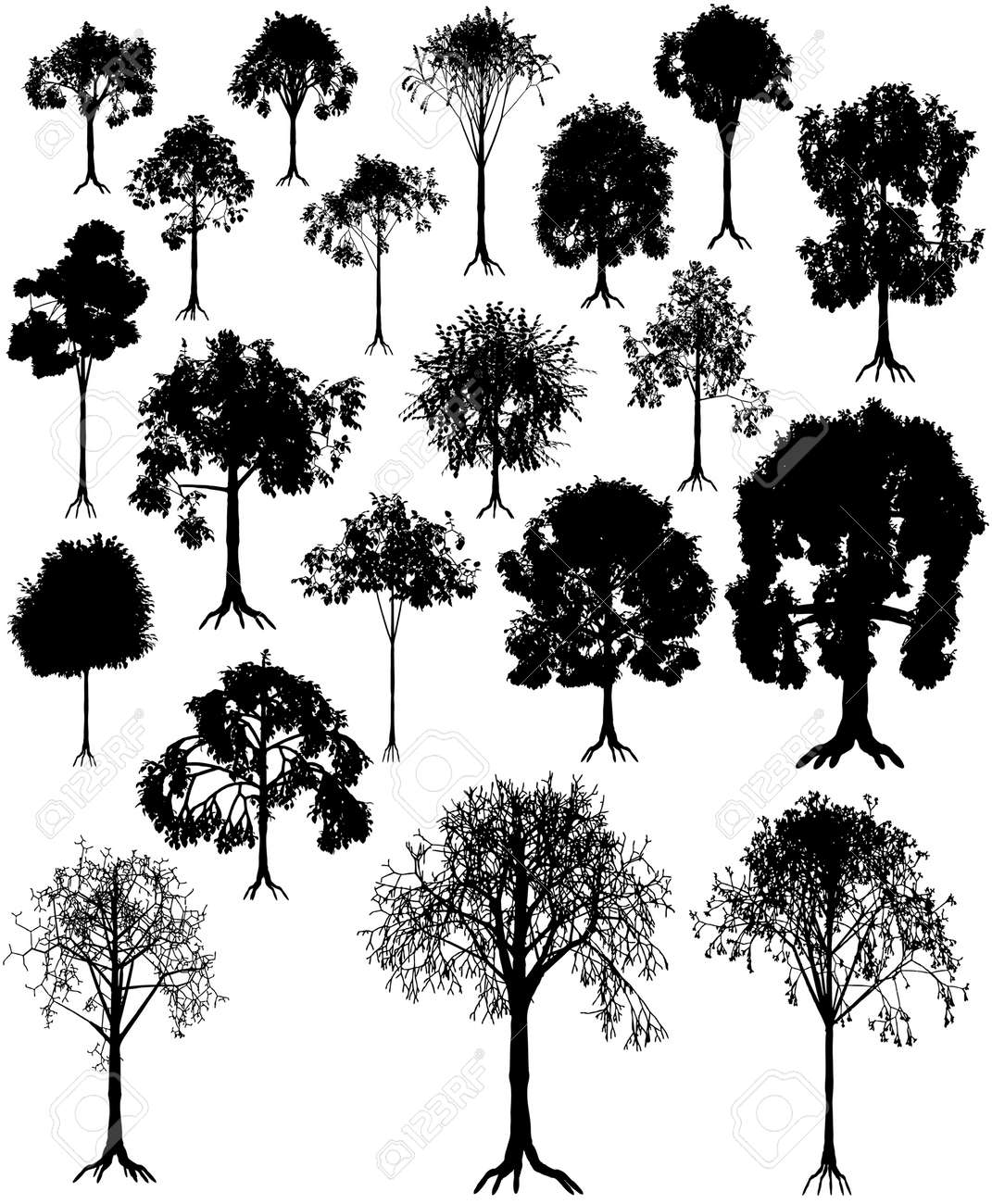 Set of editable vector tree silhouettes from summer and winter Stock Vector - 3978667