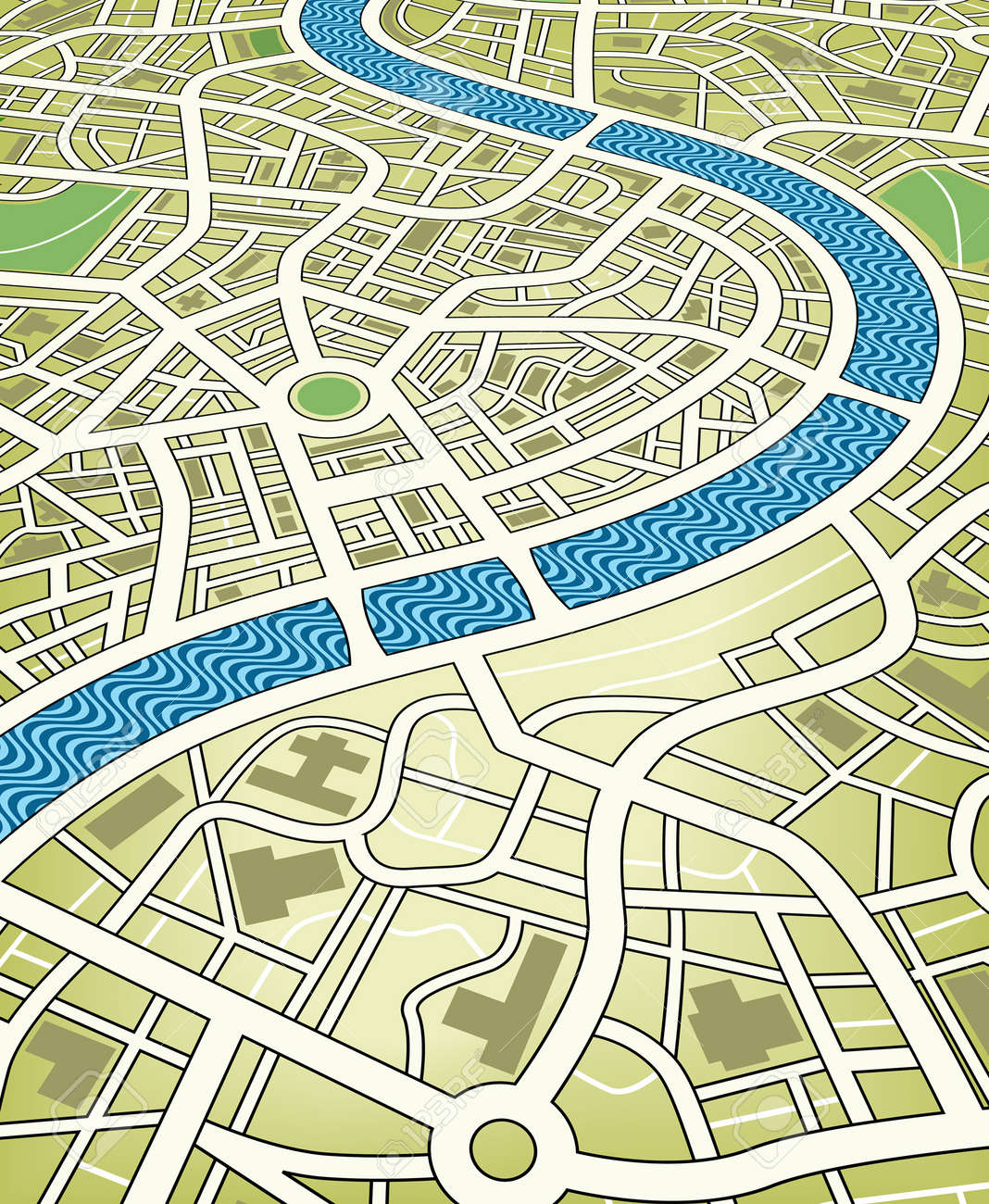 Editable vector illustration of a nameless street map from an angled perspective Stock Vector - 4788137