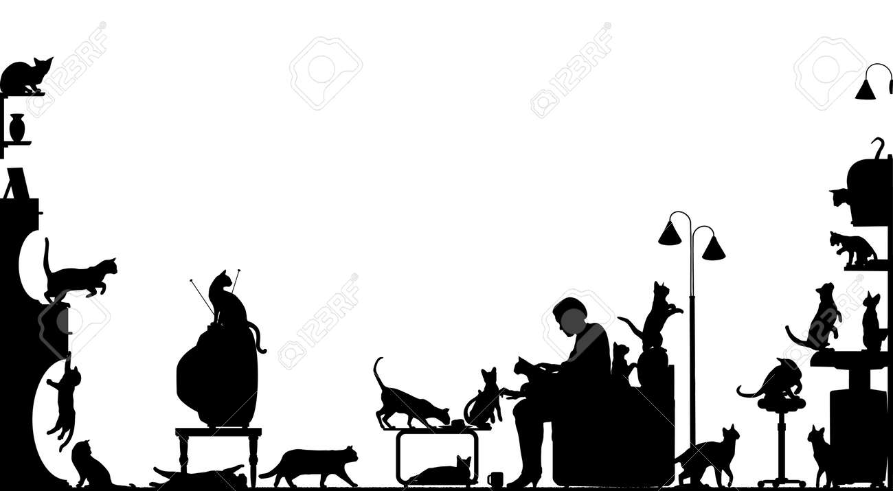 Foreground silhouette of a woman in a living room with twenty cats; with all elements as separate editable objects Stock Vector - 5231979