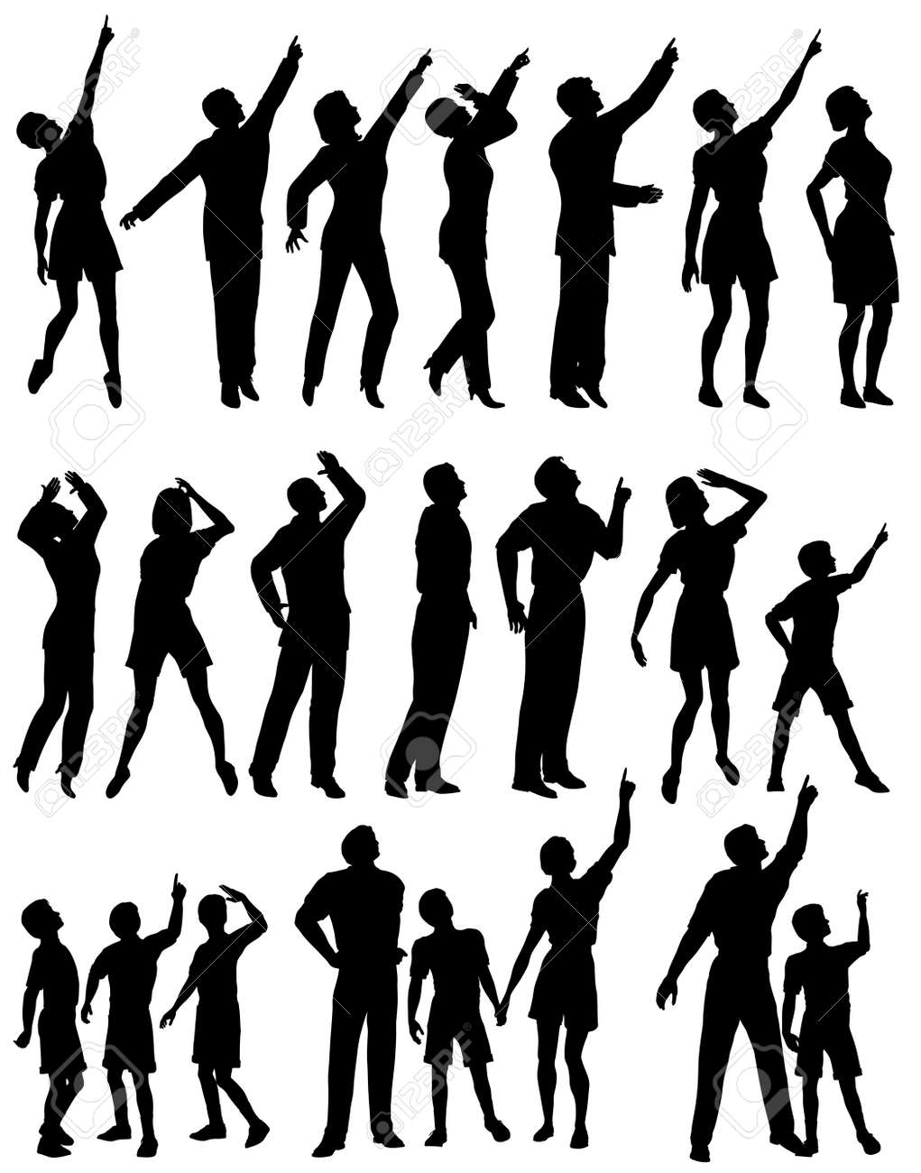 Set of editable vector silhouettes of people looking and pointing upwards Stock Vector - 5335519