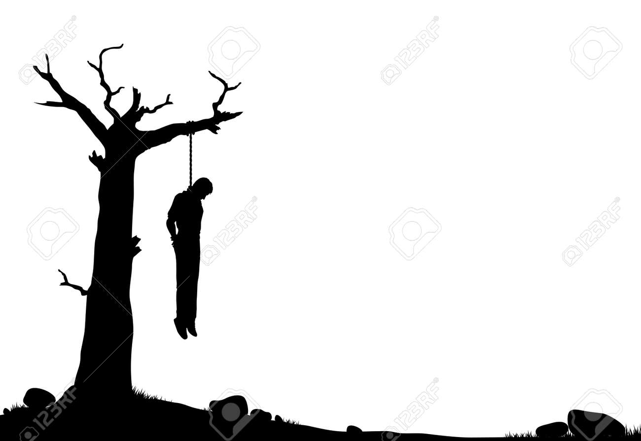 editable vector silhouette of a man hanged from a dead tree stock vector 5798791
