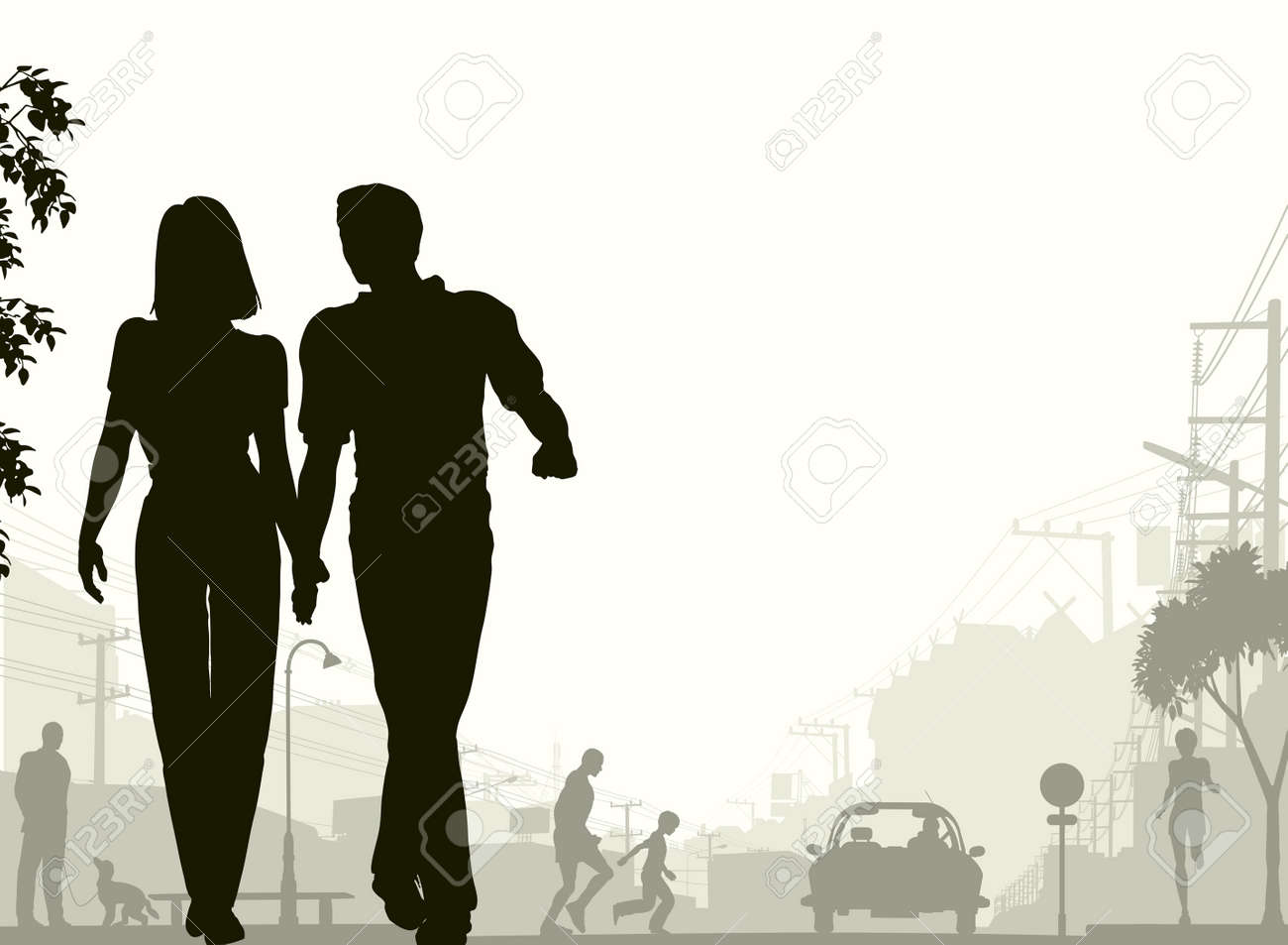 Editable silhouette of a couple walking down a street with all silhouette elements as separate objects. Stock Vector - 6163256