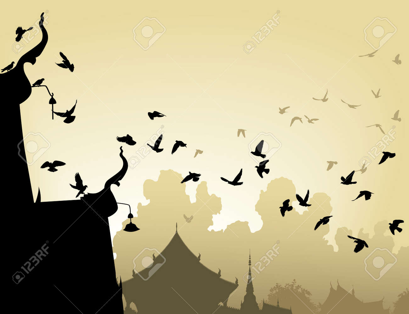 illustration of pigeons flying to a Buddhist temple roof Stock Vector - 6196915