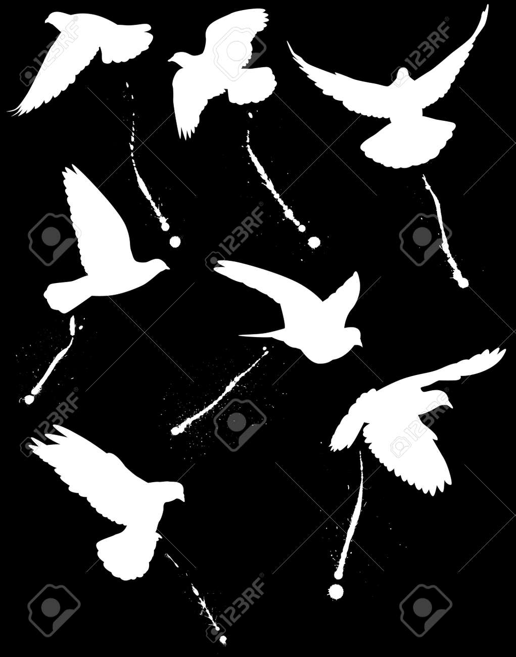 Silhouettes of flying pigeons and their droppings Stock Vector - 6409175