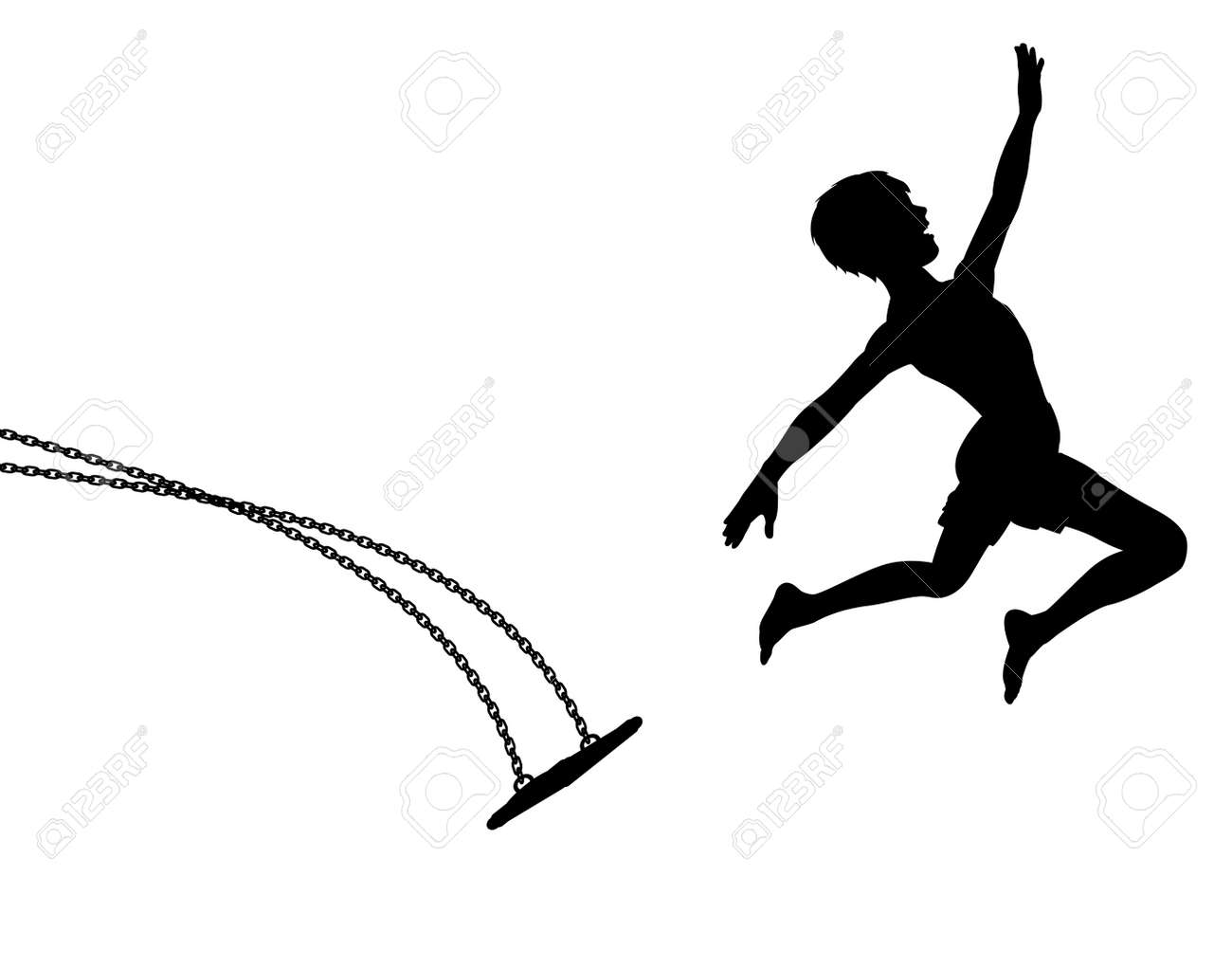 Editable vector silhouette of a young boy leaping off a swing Stock Vector - 6485254