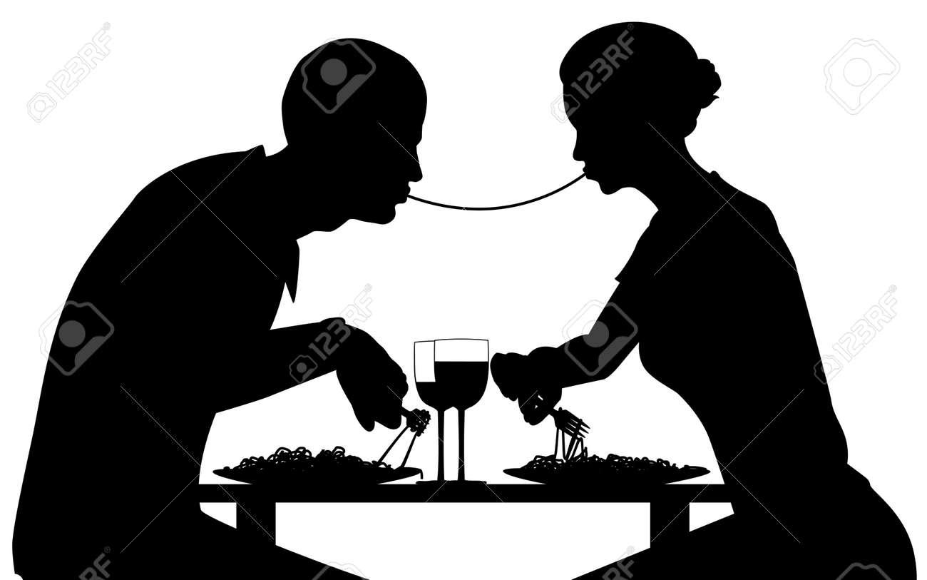 Silueta de vectorial editable de amantes comer espaguetis junto con todos los elementos como objetos independientes  Foto de archivo - 6485252