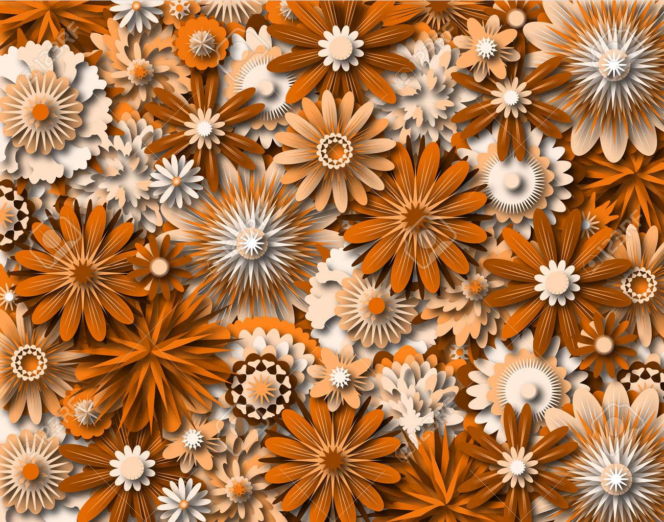 Background illustration of generic orange-tinted flowers Stock Photo - 6997478
