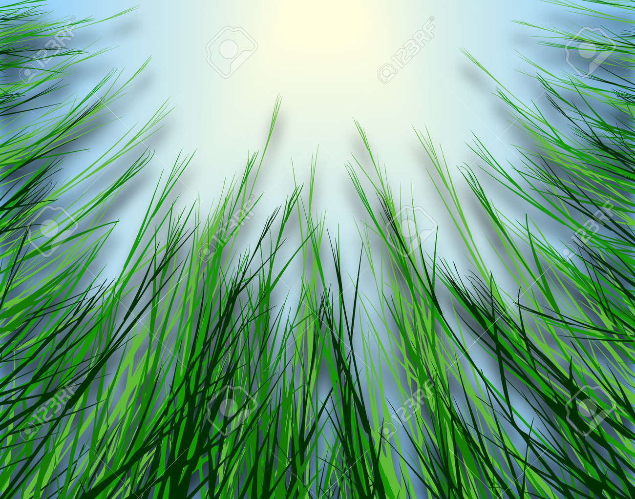 Illustrated design looking up through rough grass Stock Photo - 6997604