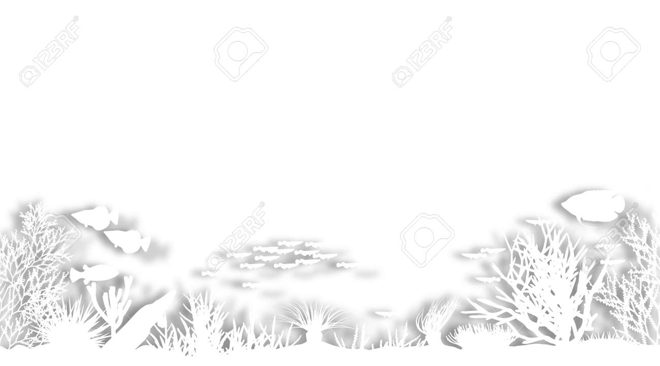 Illustrated foregound of white cutout sea coral silhouettes Stock Photo - 6997510
