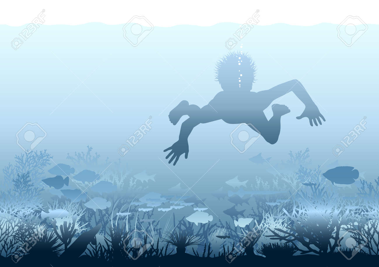 Editable illustration of a boy swimming over a coral reef Stock Vector - 7295668