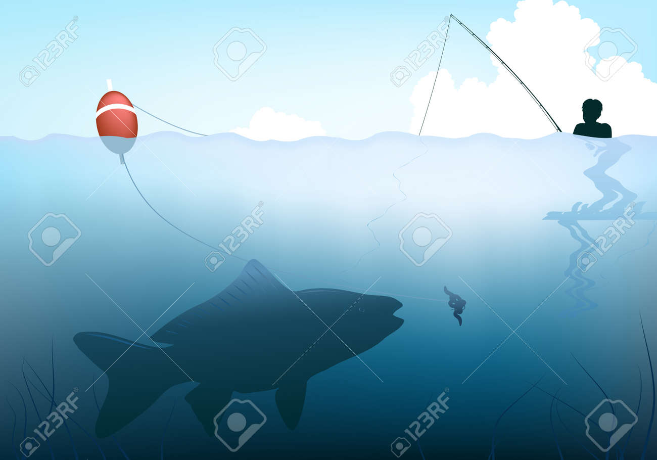 Editable vector illustration of a fish about to take the bait from a child's rod Stock Vector - 7348474