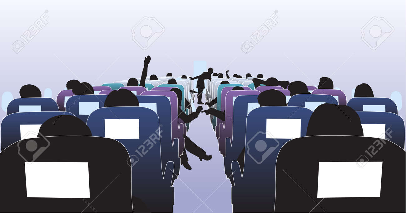 Editable illustration of passengers in an airplane - 7794753
