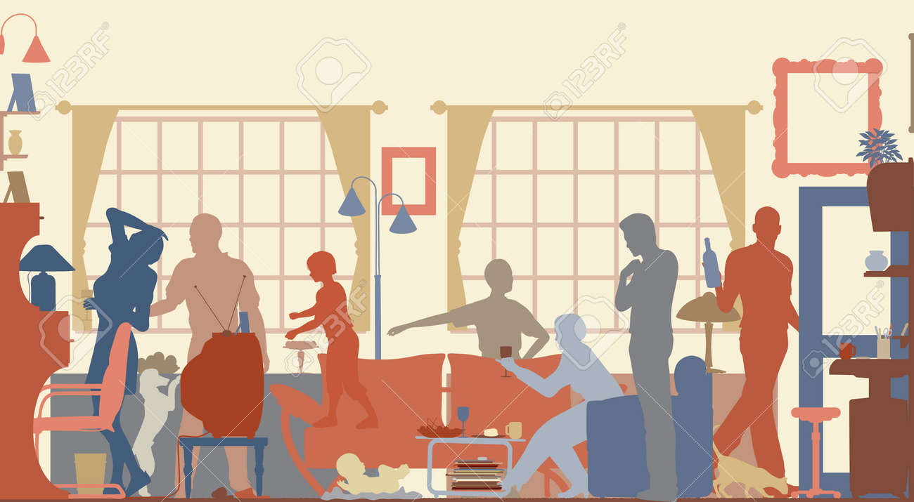 Editable vector silhouettes of a family gathering in a living room Stock Vector - 8337671