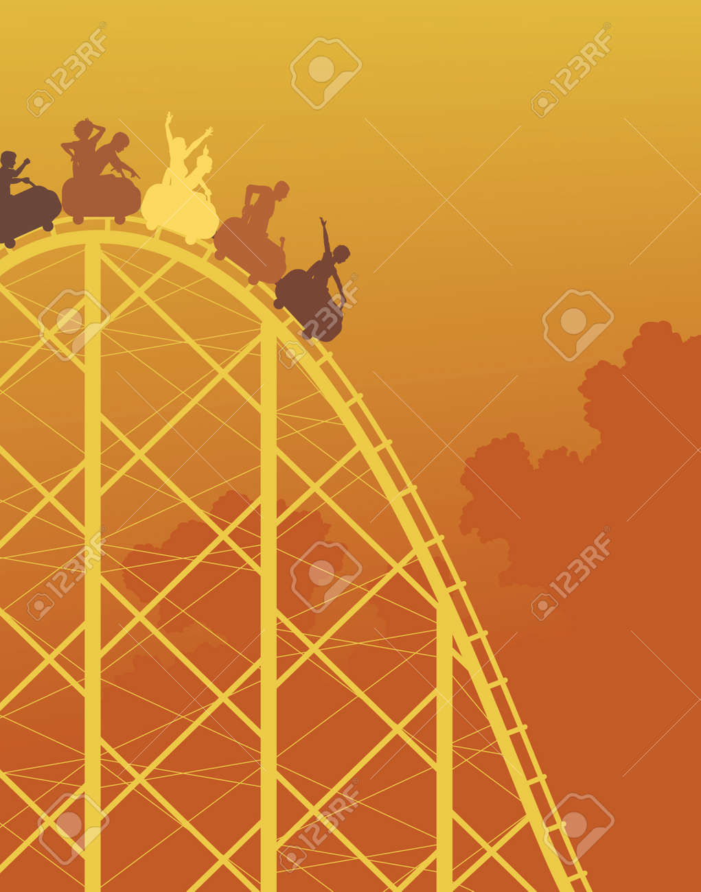 colorful silhouette of a steep roller coaster ride Stock Vector - 8377186