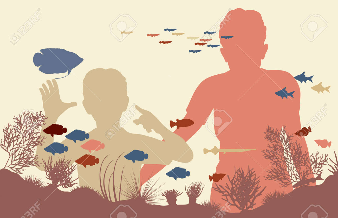 Editable vector illustration of mother and son looking at fish in an aquarium Stock Vector - 8581054