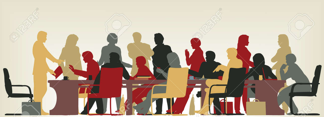 Colorful editable vector foreground silhouette of people in a meeting - 8581041