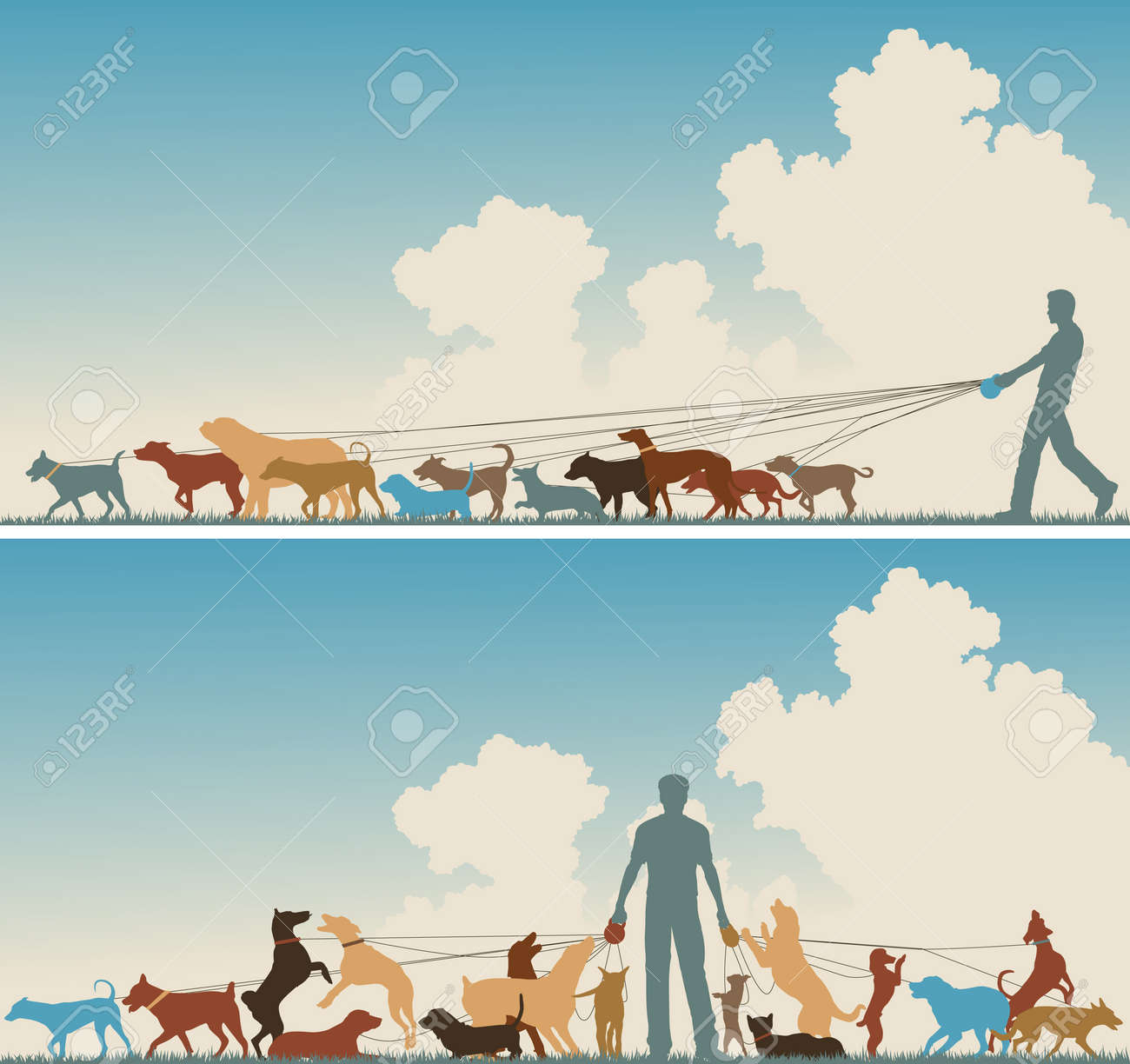 Two colorful foreground silhouettes of a man walking many dogs Stock Vector - 8581050