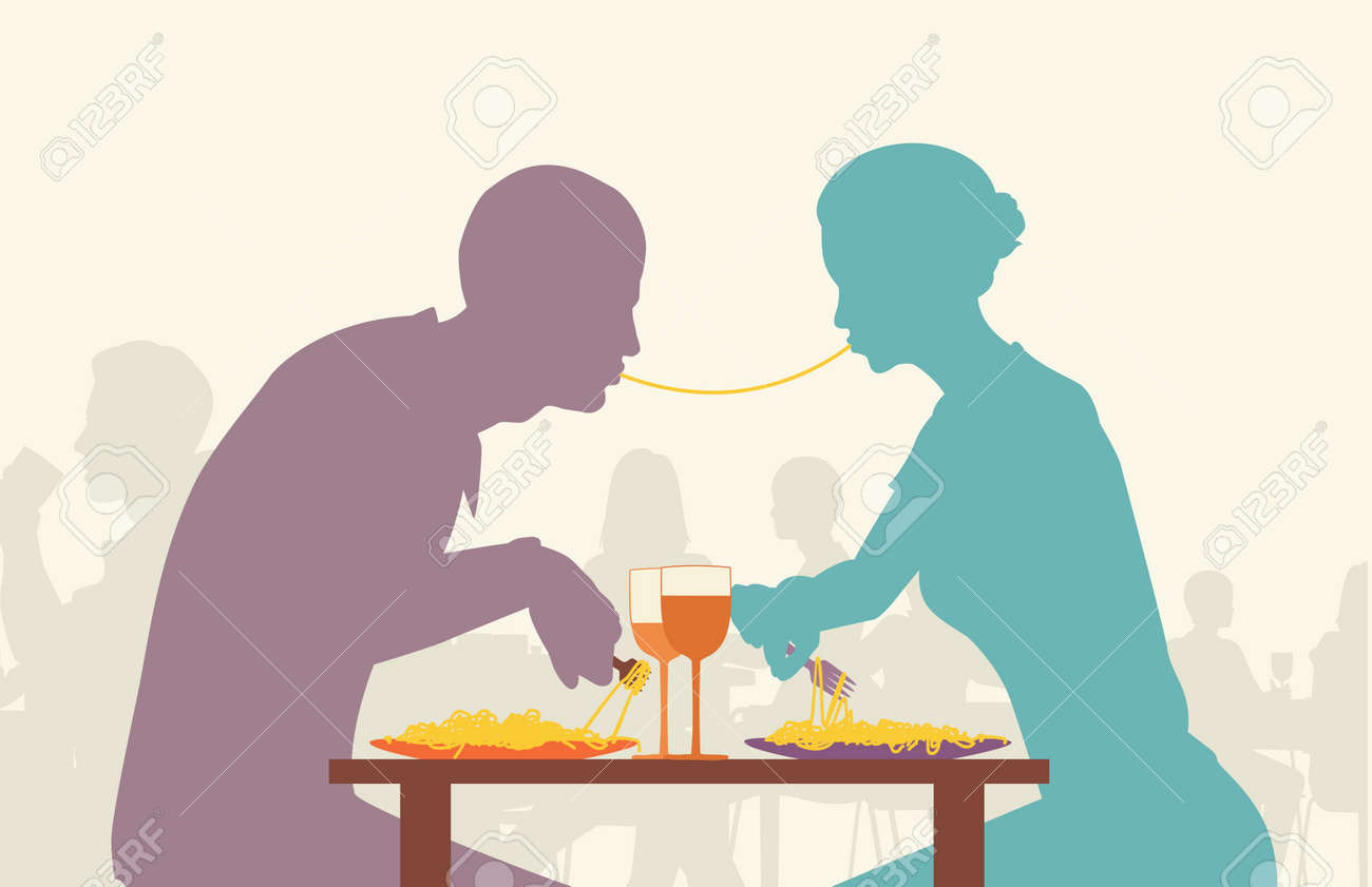 Coloridos silueta editable de amantes comer espaguetis juntos en un restaurante Foto de archivo - 8688455