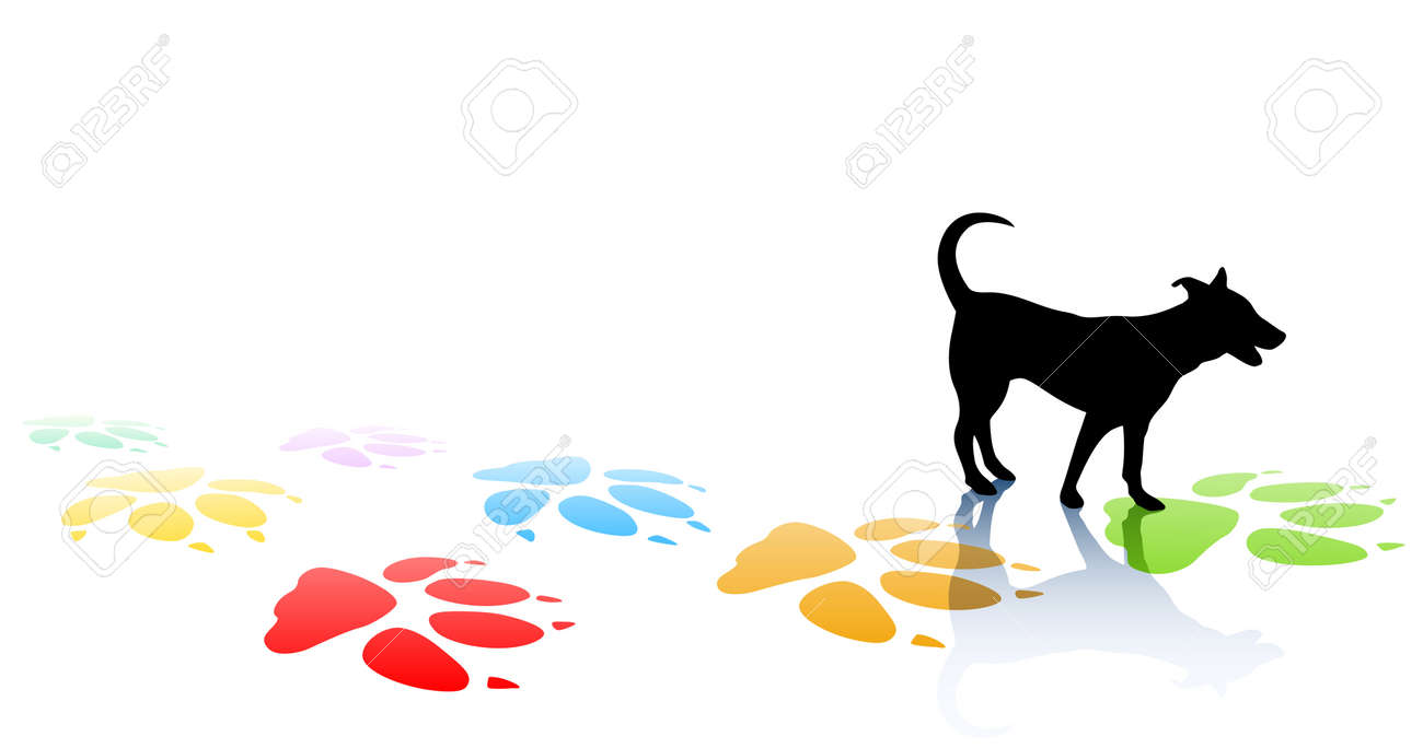 Editable illustration of a young dog silhouette and colorful paw prints with space for text Stock Vector - 8978043