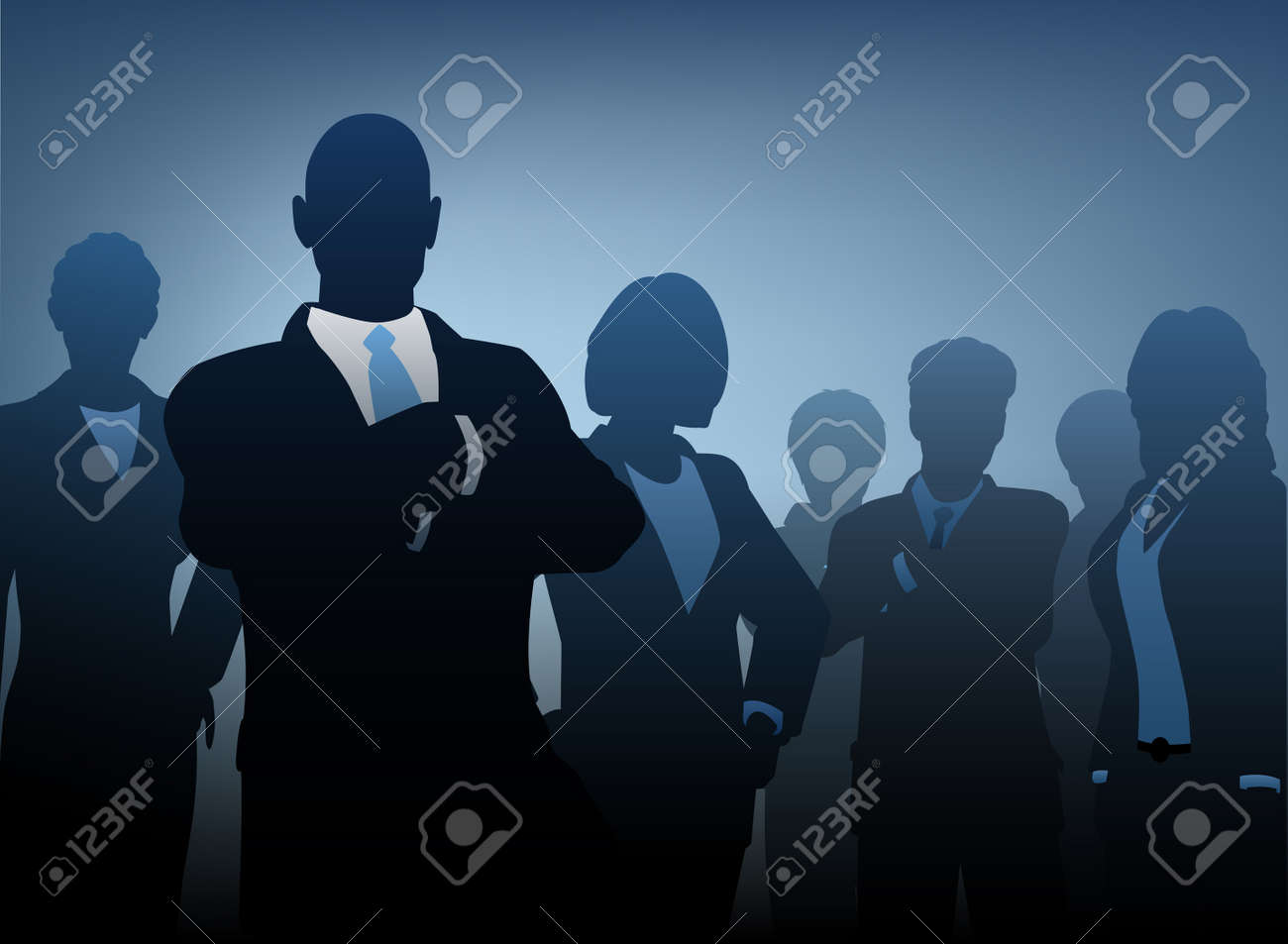 silhouettes of a business team Stock Vector - 9284484