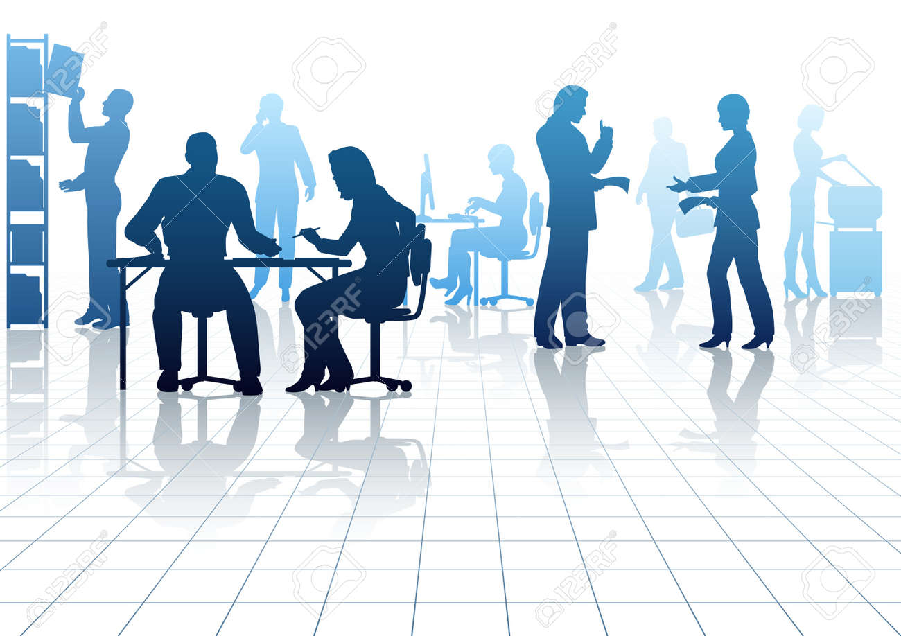 Editable Silhouettes Of People In A Busy Office With Reflections ...