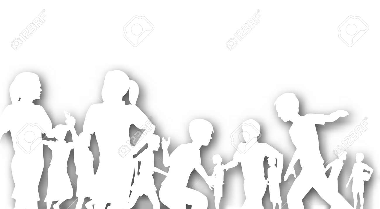 Editable cutout of children in a playground with background shadow made using a gradient mesh - 9758893