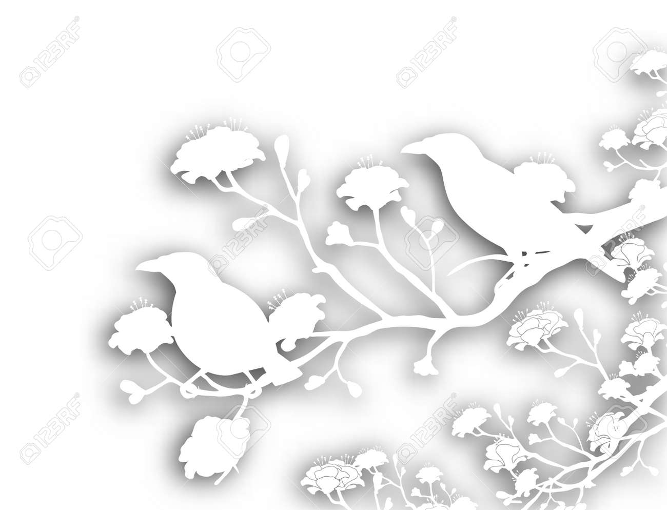 Editable vector cutout illustration of a pair of wild myna birds with background shadow made using a gradient mesh Stock Vector - 9855955
