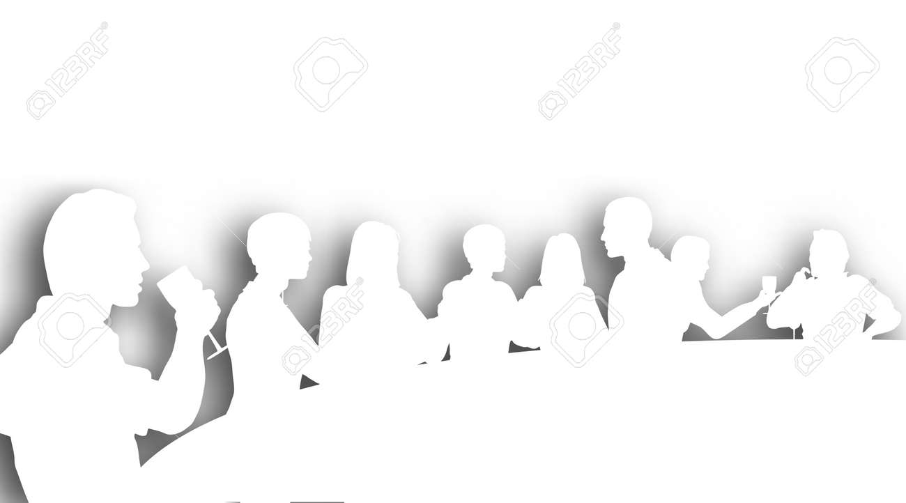 Restaurant Background With People Editable Vector Cutout Silhouettes Of People In A Wine Bar With