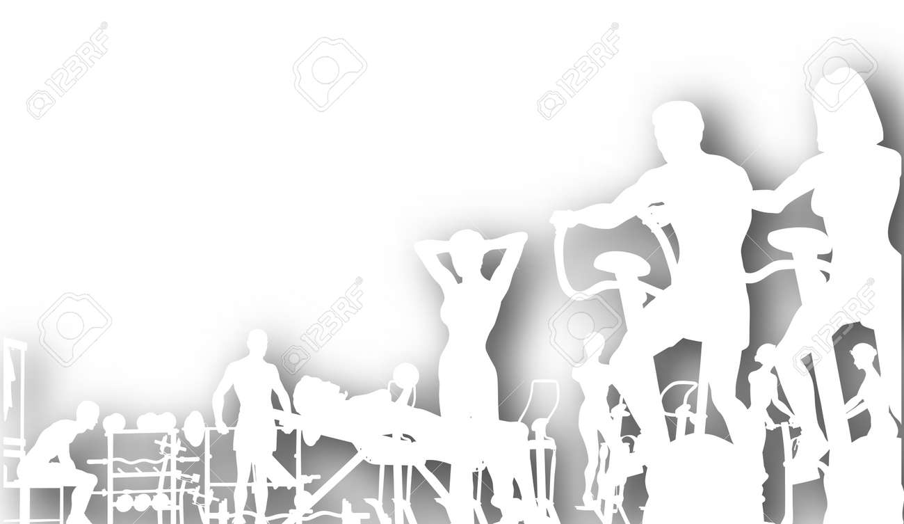 Editable vector cutout of people exercising in a gym with background shadow made using a gradient mesh Stock Vector - 9855959