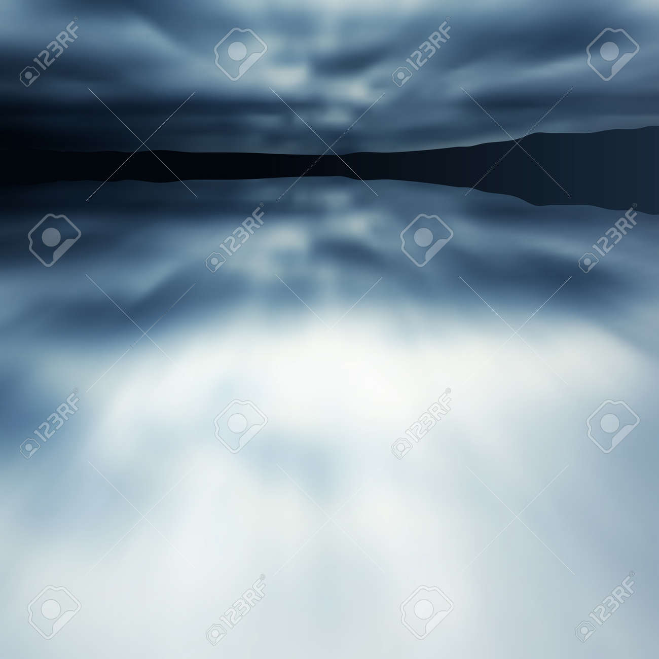 Editable vector illustration of a blue blurred lake and sky made with a gradient mesh Stock Vector - 9855985