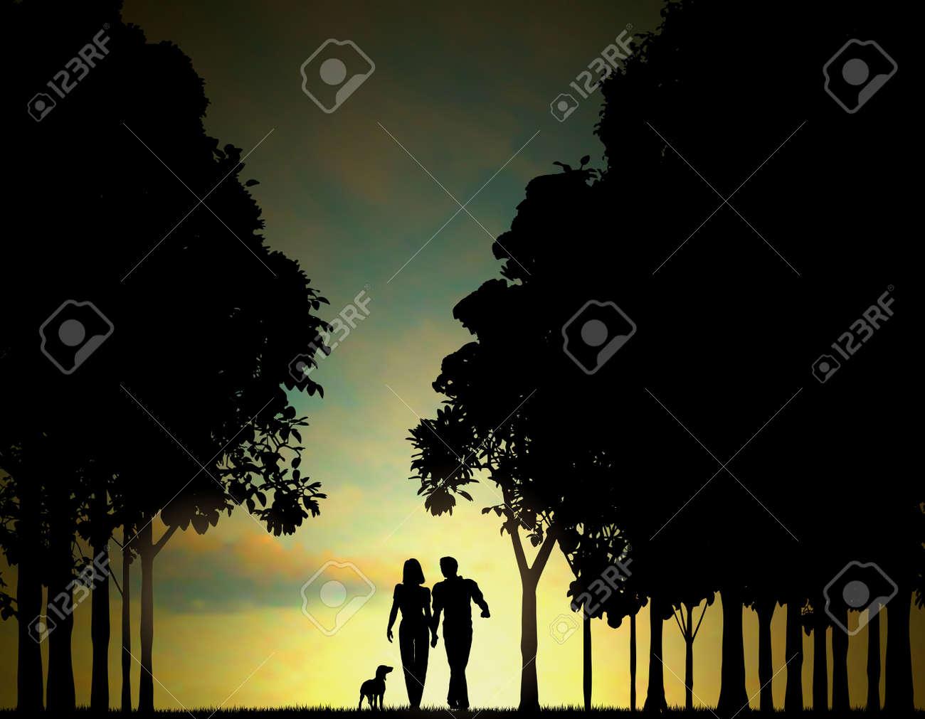 カップル一緒に歩いて、木に夜明けや夕暮れグラデーション メッシュを