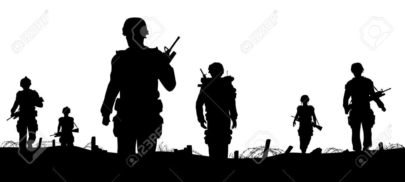 Editable foreground of silhouettes of walking soldiers on patrol with figures as separate elements Stock Vector - 11041608