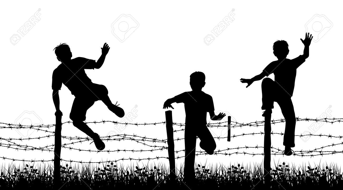 Editable vector silhouettes of three boys jumping over a barbed wire fence with boys, fence and grass as separate objects - 11142046