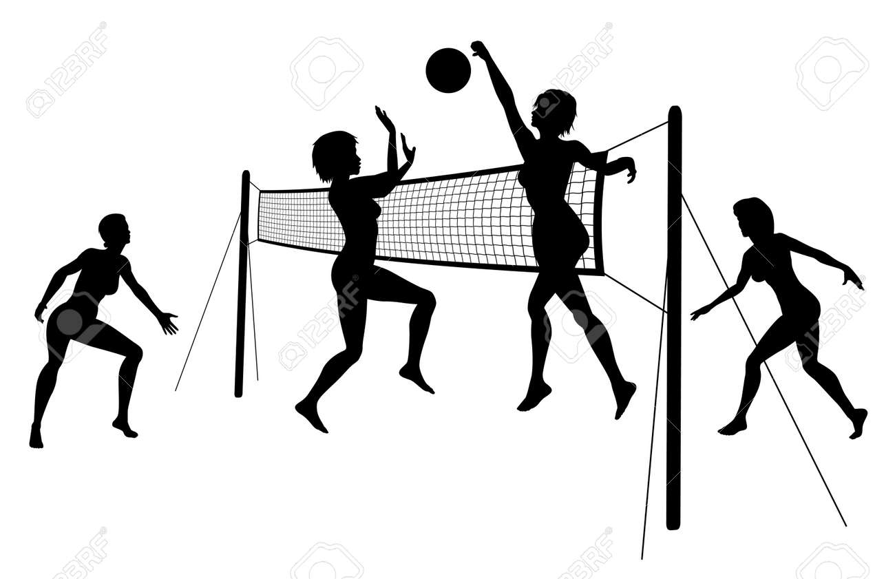 silhouettes of women playing beach volleyball Stock Vector - 11429648