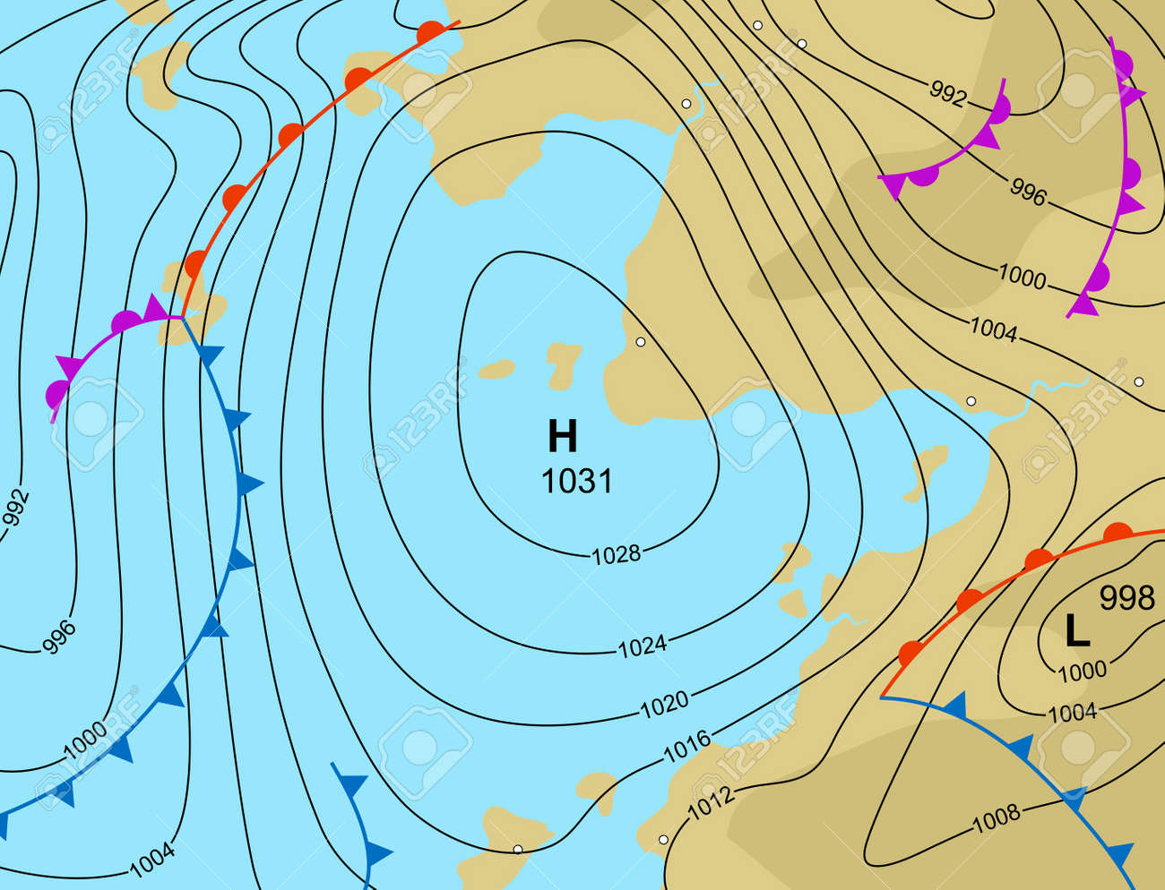 Illustration Of A Generic Weather Map Showing A High Pressure - Us weather map showing fronts