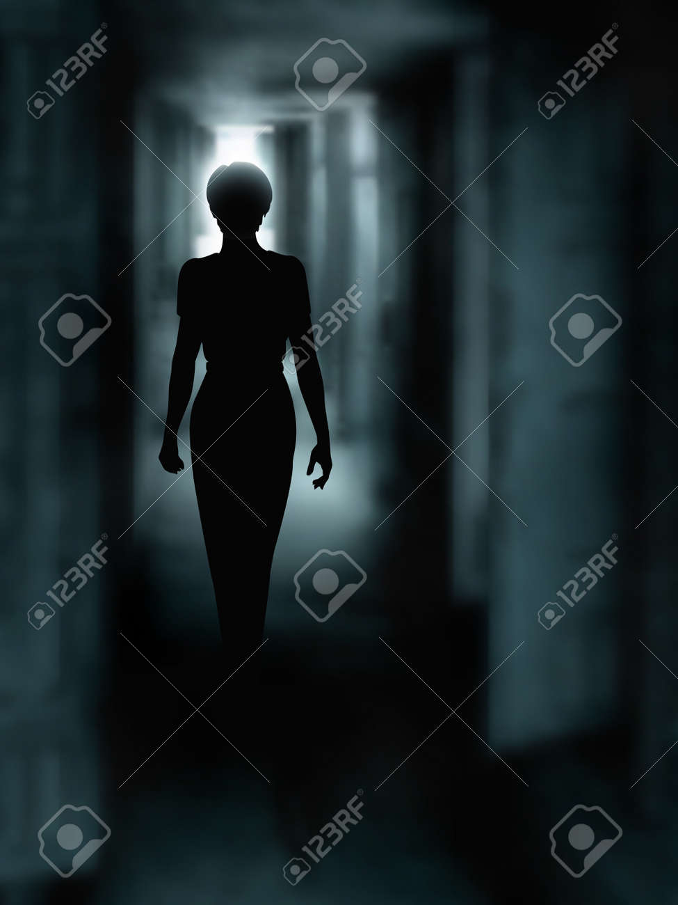 Editable vector illustration of a woman's silhouette walking down a dark passage made using a gradient mesh - 17015742