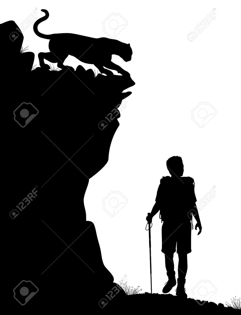 Editable Silhouette Of A Lone Hiker Being Stalked By A Cougar Stock Vector 19477411