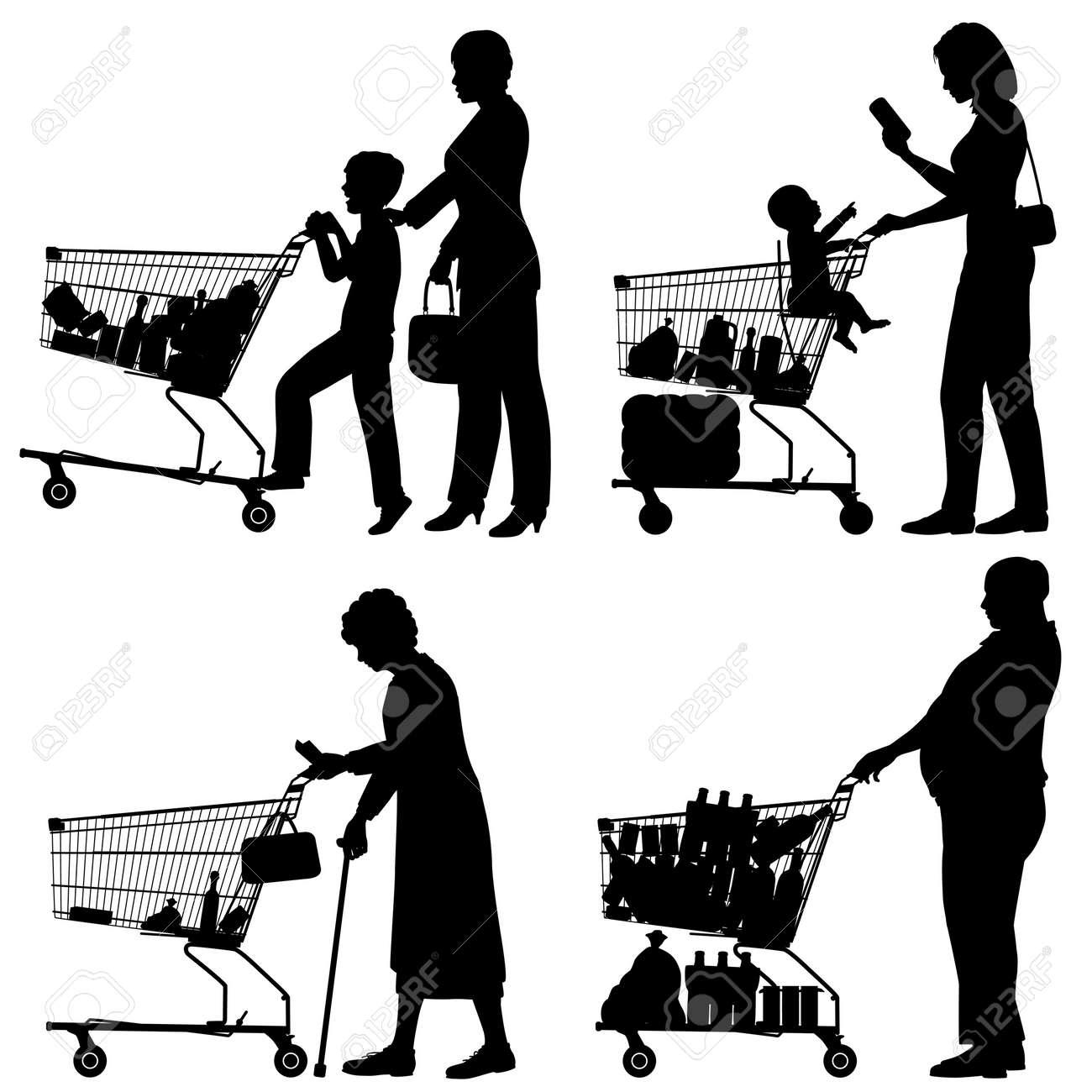Editable siluetas de personas y su supermercado carritos de la compra con todos los elementos como objetos separados Foto de archivo - 21783825