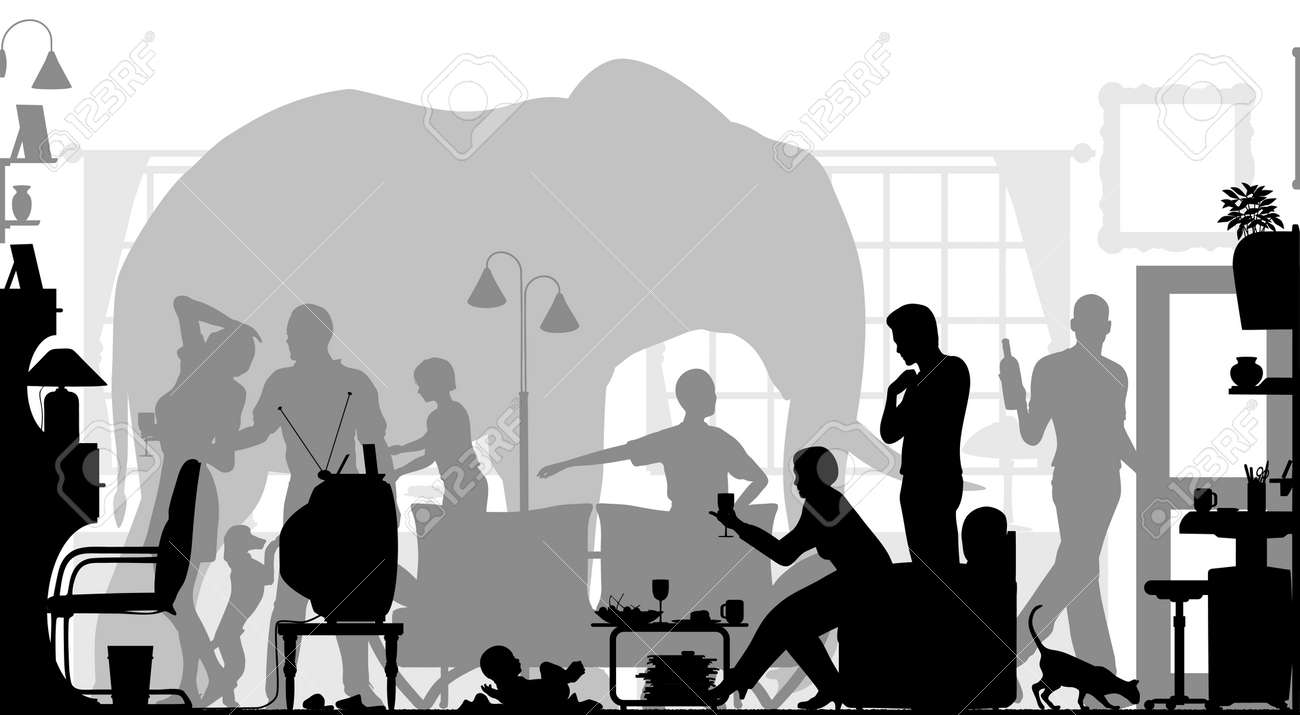Editable Vector Silhouettes Of A Family Gathering In A Living ...